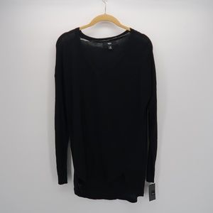Mossimo Solid Black V-Neck Long Sleeve Sweater Top